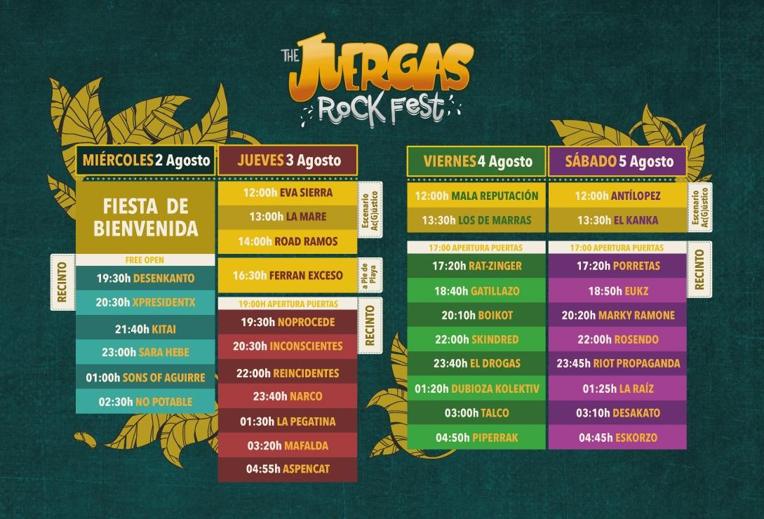 juergas rock fest horarios 2017