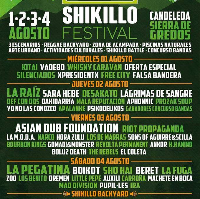 Distribución por días del Shikillo Festival 2018