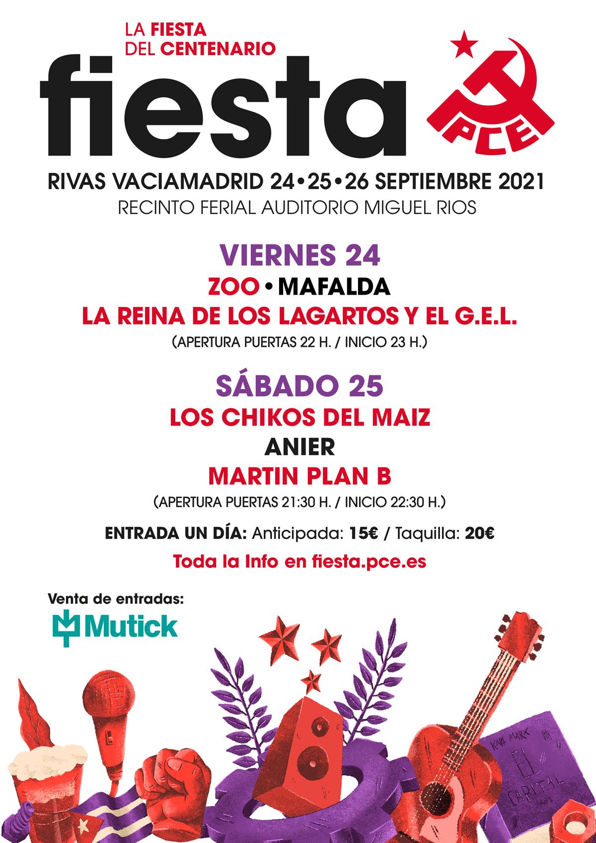 Fiesta PCE 2021 - Los Chikos del Maíz + Anier + Martin Plan B